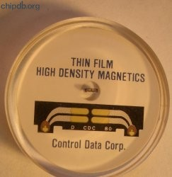 Control Data Corp. lucite paperweight read head