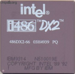 IBM 486DX2-66 03H4939 intel logo
