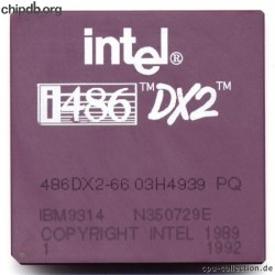 IBM 486DX2-66 03H4939 intel logo printed